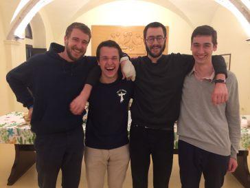 Nos futurs novices. De gauche à droite : Gabriel Thorent, Clément Berthaud, Charles-Eric Mauriel, et Raphaël de Barbeyrac.